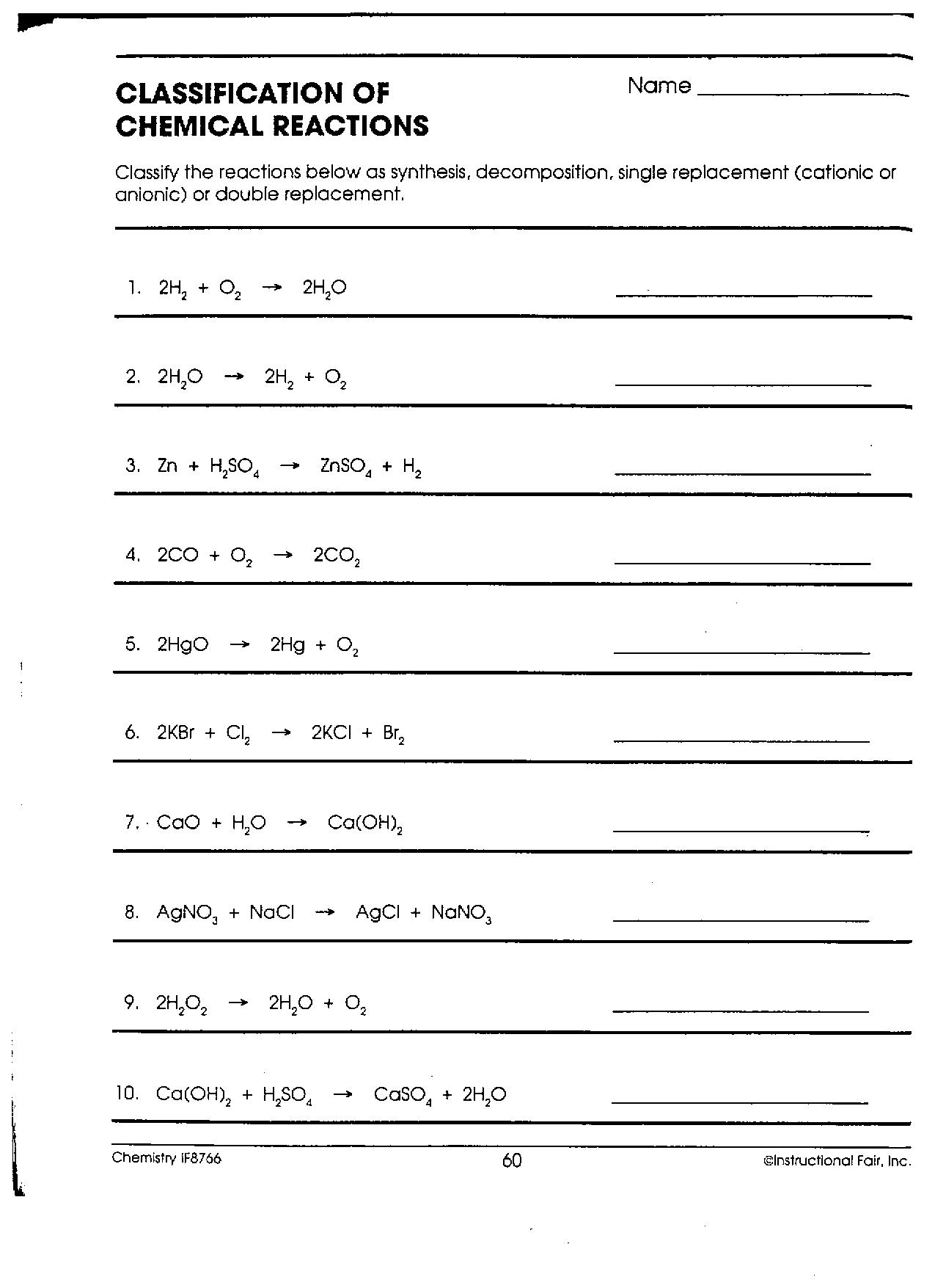 Classifying Chemical Reactions Worksheet - Secretlinkbuilding