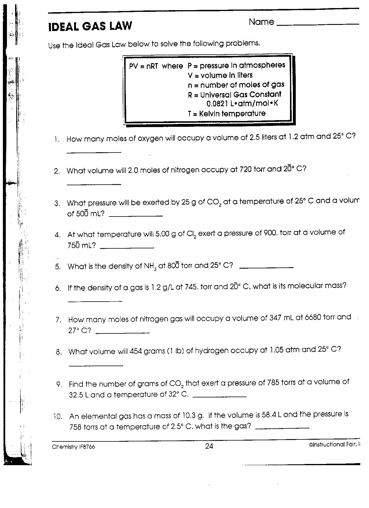 Chem IIB Mr Phelps Big Rapids HS – Ideal Gas Law Worksheet Answers