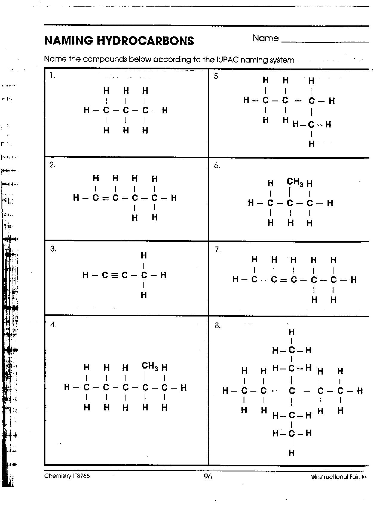Organic Compounds Worksheet Answers | ABITLIKETHIS