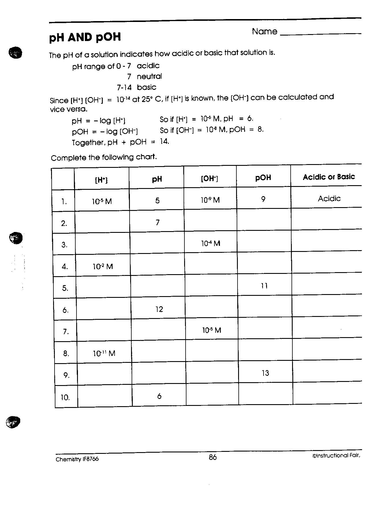 Chem IIB Mr Phelps Big Rapids HS – Ph and Poh Worksheet