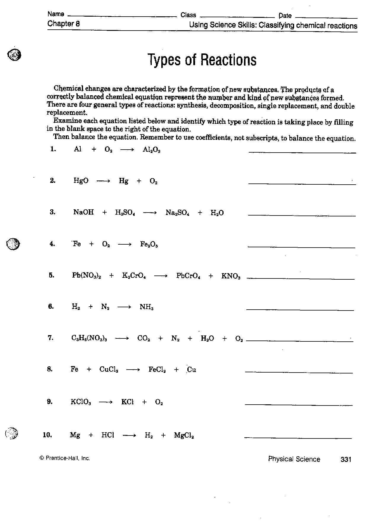 Classification of chemical reactions worksheet key